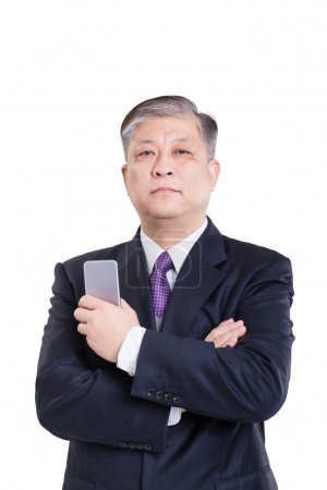 old Asian businessman with mobile phone