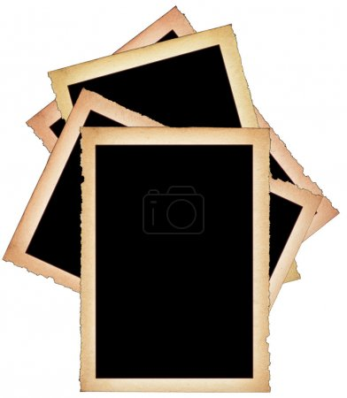 Photo for Stack of paper frames with frayed edges on white background - Royalty Free Image