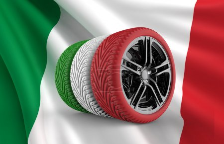 Photo pour Colorful tires formation isolated on an italian flag - image libre de droit