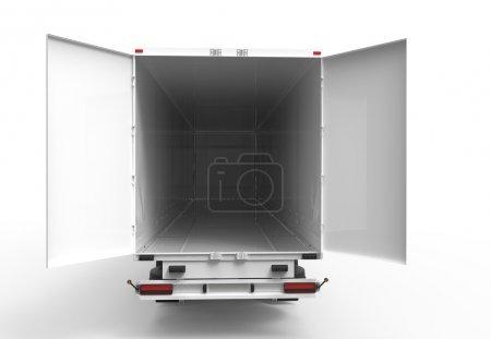 Photo pour Camion arrière blanc avec remorque vide ouverte - image libre de droit