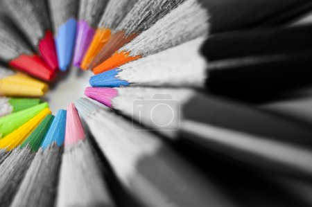 Photo for Close up of many colored pencils isolated - Royalty Free Image