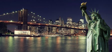 New York Skyline at night with Statue of Liberty