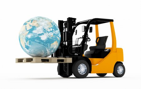 Photo for 3D Forklift truck with a world on a pallet - Royalty Free Image
