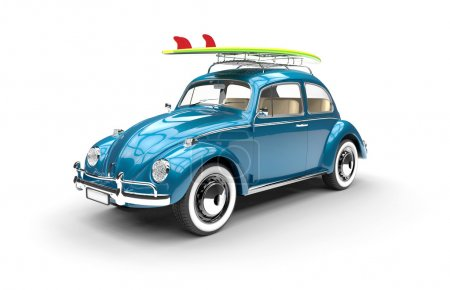 Photo for Old blue car with surfboard isolated on a white background - Royalty Free Image