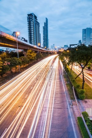 night falls highway in bangkok