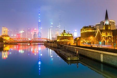 view shanghai skyline from suzhou river