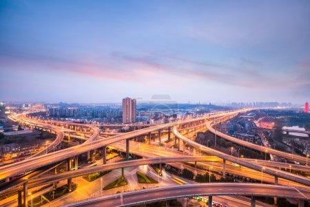 nanjing city interchange in nightfall