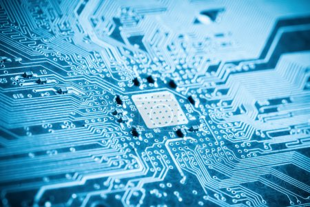 Photo for Blue printed circuit board closeup , background of science and technology - Royalty Free Image