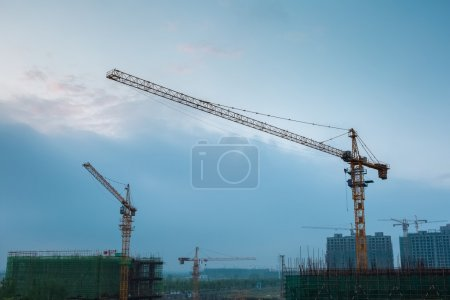 Construction site at dusk