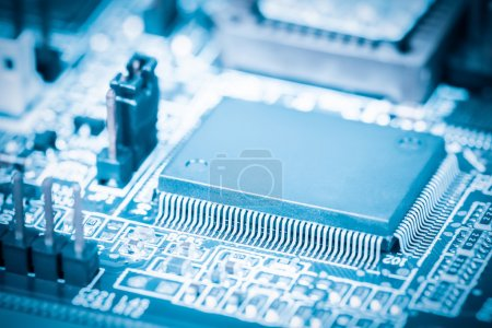 Photo for Closeup of the processor with electronic circuit board - Royalty Free Image