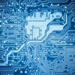Complexity circuit board closeup , abstract techno...