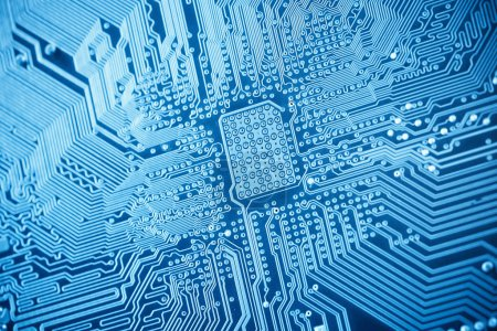Photo for Blue circuit board closeup ,as abstract technology backgroun - Royalty Free Image