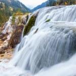 Closeup of the waterfall in autumn on jiuzhaigou v...