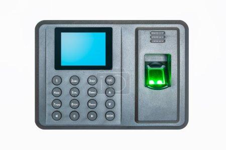 Photo pour Machine de prise d'empreintes digitales sur un fond blanc - image libre de droit