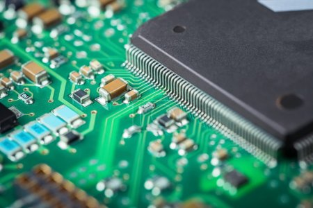 Photo for Electronic board closeup , microelectronics and semiconductors industry background - Royalty Free Image