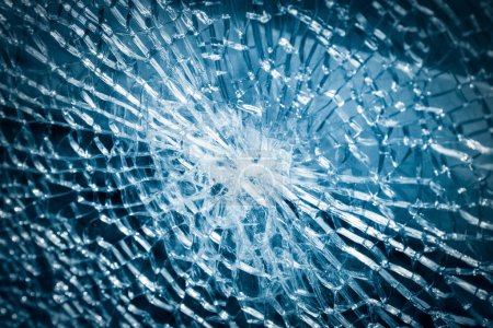 Photo for Broken armoured glass closeup , background of glass was smashed - Royalty Free Image
