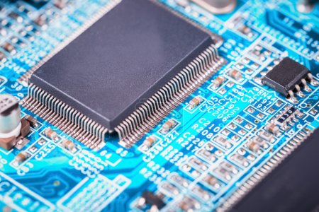 Photo pour Plan rapproché de carte mère d'ordinateur, fond de microélectronique et de semi-conducteurs - image libre de droit
