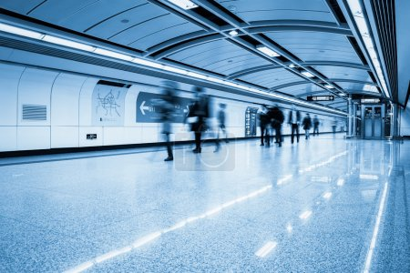 Photo for Futuristic subway passage with passengers motion blur in guangzhou - Royalty Free Image