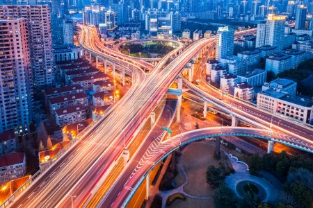 Photo for Overpass closeup on city road junction at night in shanghai - Royalty Free Image