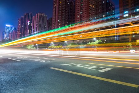 Photo for Light trails on city road at night in guangzhou - Royalty Free Image