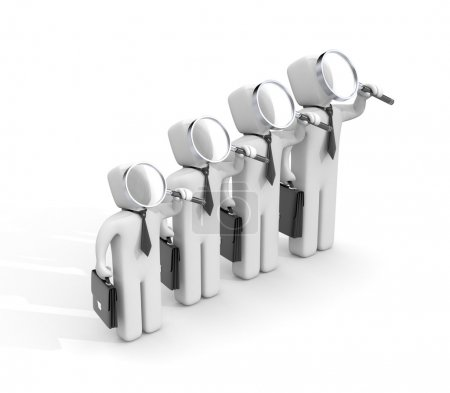 Group of businessmen with magnifying glasses