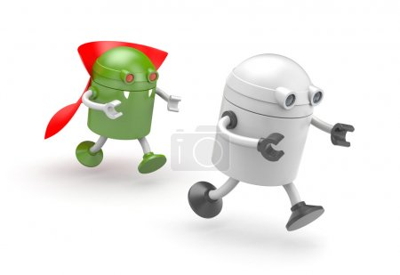 Green robot vampire