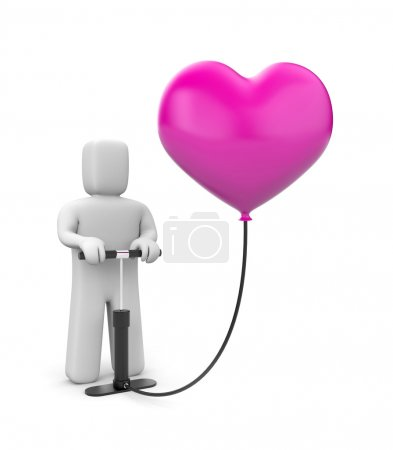 The person pumps up heart balloon