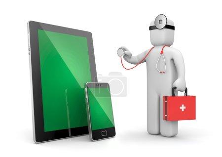 Doctor examine electronics