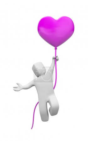 Man flying on balloon form of heart