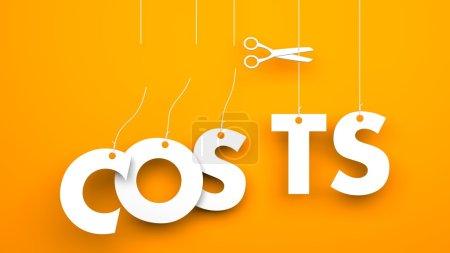 Foto de Tijeras corta los costos de la palabra. Imagen conceptual del negocio - Imagen libre de derechos