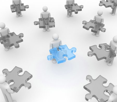 Character holding a blue puzzle
