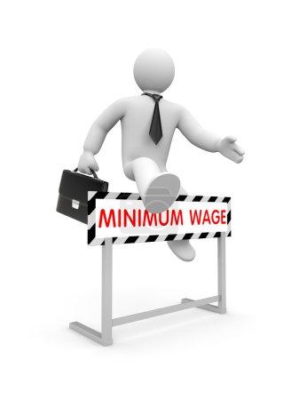Foto de El carácter blanco en 3D vestido como un hombre de negocios salta sobre un obstáculo sobre el que se escribe el salario mínimo. - Imagen libre de derechos