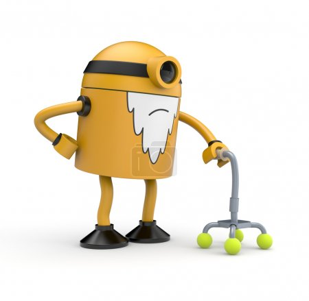 Old robot with crutch