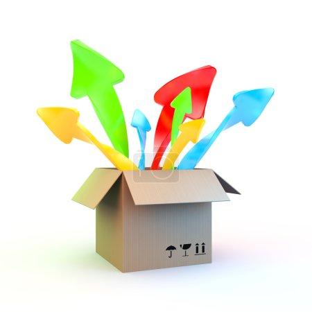 Photo pour Boîte en carton ordinaire qui surgit dans différentes directions, flèches de couleur - image libre de droit