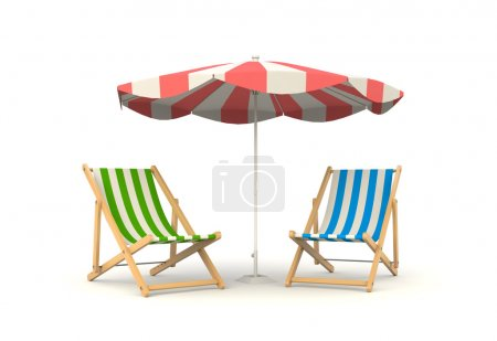 Two sun beds and parasol