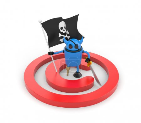Robot pirate with flag