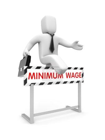 Foto de White 3D Businessman character tries to raise their wages - Imagen libre de derechos