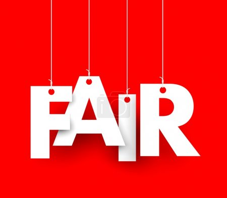 Photo for Red background with hanging letters which make up the word - fair - Royalty Free Image