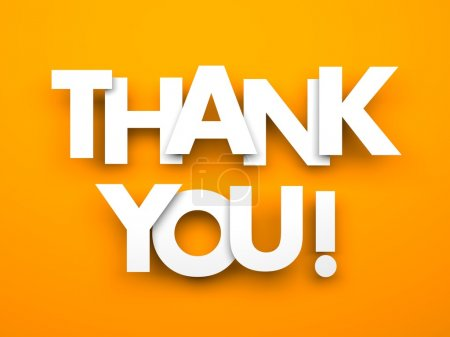 Photo for Thank you. Words on a orange background - Royalty Free Image