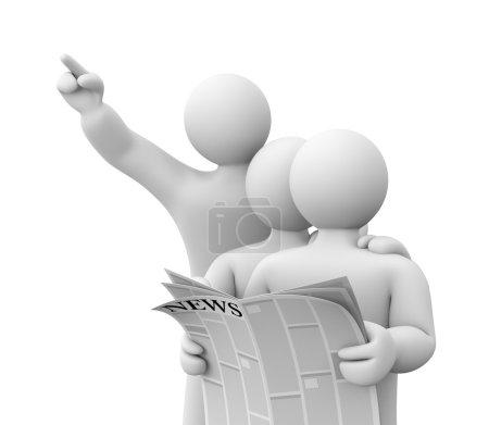 Photo pour Un groupe de personnes lisant un journal et se réjouit de quelque chose - image libre de droit