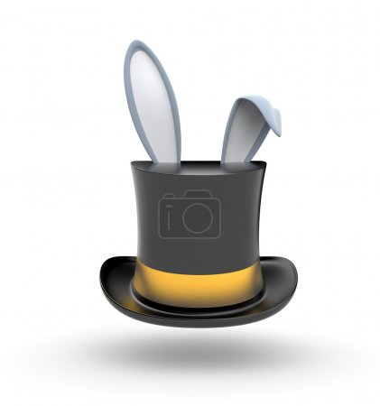 Black Top hat with gold stripe from which protrude...