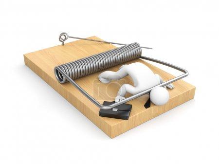 3d Businessman on mousetrap