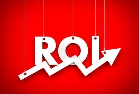 Photo pour Retour sur investissement. Entreprise rouge arrière-plan - image libre de droit