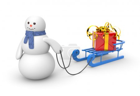 Snowman with blue sled and gift