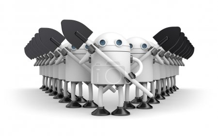 Group robots with shovels