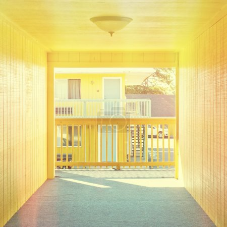Motel hallway, instagram style