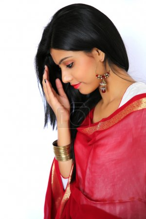 Photo for Beautiful Indian girl in traditional Indian salwar shuit. - Royalty Free Image