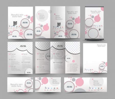 Illustration for Beauty Care & Salon Stationery Set Template - Royalty Free Image