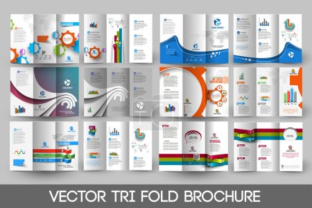 Business Infographic Tri-fold Brochure Design Bundle.