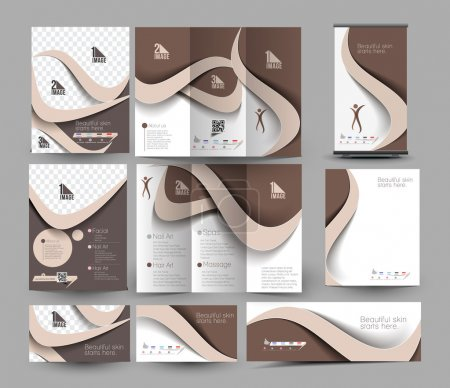 Illustration for Beauty Care & Salon Stationery Set Template. - Royalty Free Image